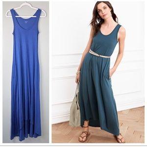 Garnet hill high low sleeveless maxi dress s blue